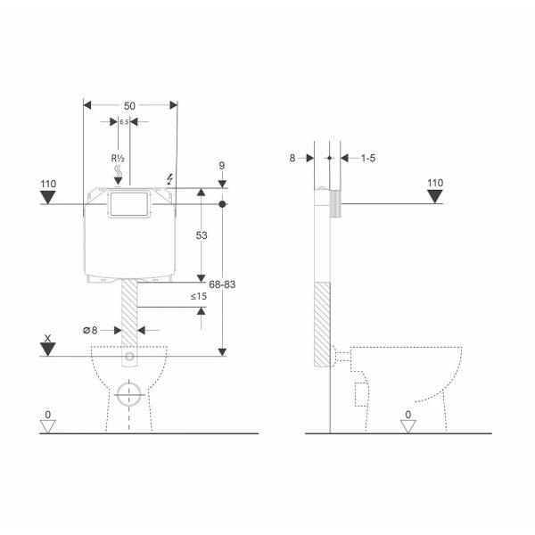 dati dimensionali cassetta wc bsilent