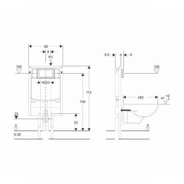 dati dimensionali telaio heavy andromeda plus cassetta wc
