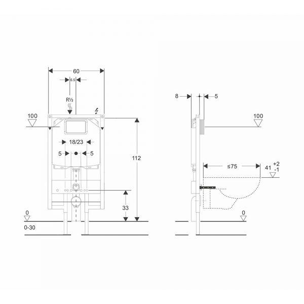 dati dimensionali telaio heavy bsilent cassetta wc