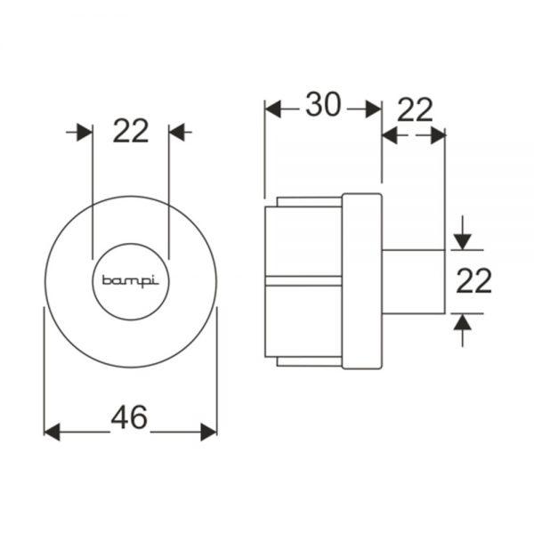 dati dimensionali pulsante ceramica replace one