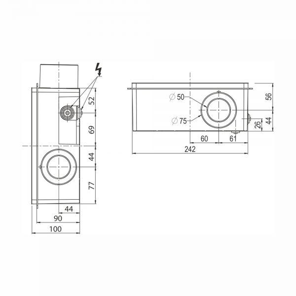 dati dimensionali scatola aspiraodorivapori snif